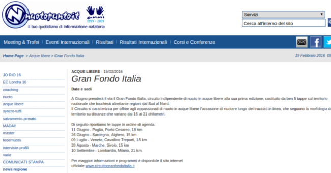 Gran Fondo Italia su Nuoto.it - 19 Feb 2016