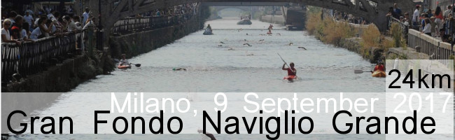 Gran Fondo Naviglio Grande, race of open water swimming in Milan, Lombardia - Italy
