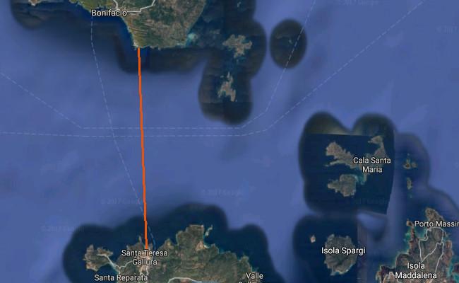 tracciato nuoto in acque libere Bocche di Bonifacio