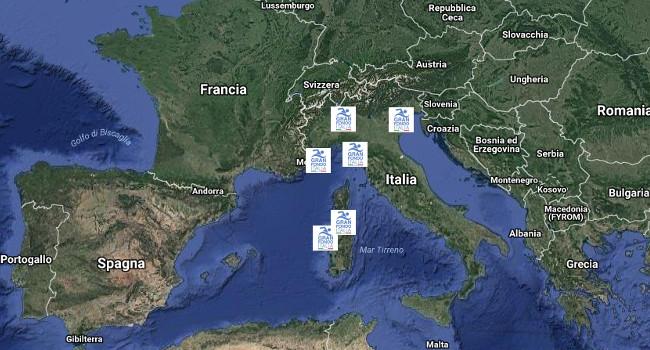 mappa delle tappe del Gran Fondo Italia 2018 - circuito di nuoto in acque libere su distanze di gran fondo