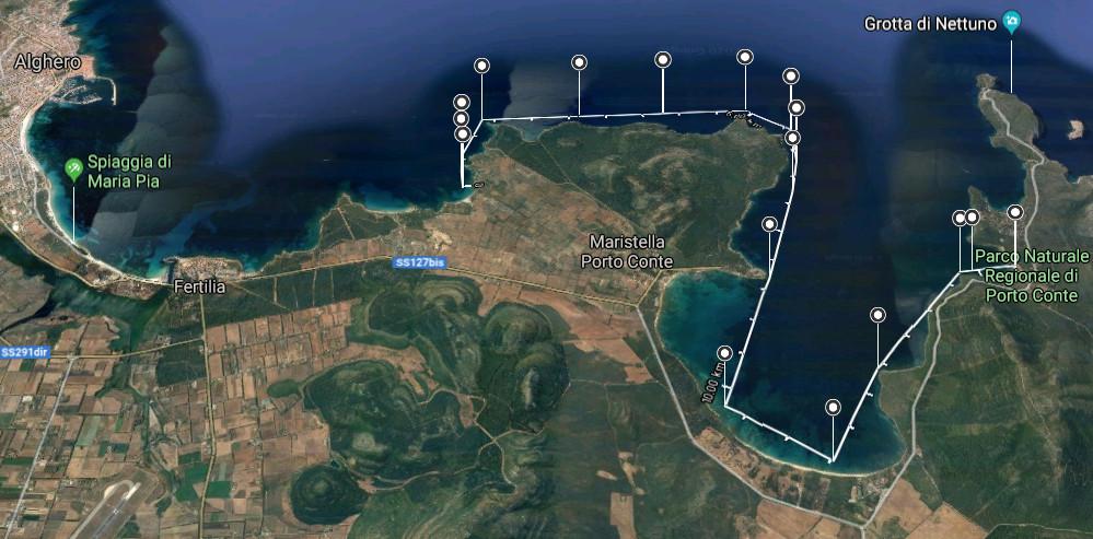 Gran Fondo Porto Conte (Alghero), tracciato 17 km di nuoto in acque libere