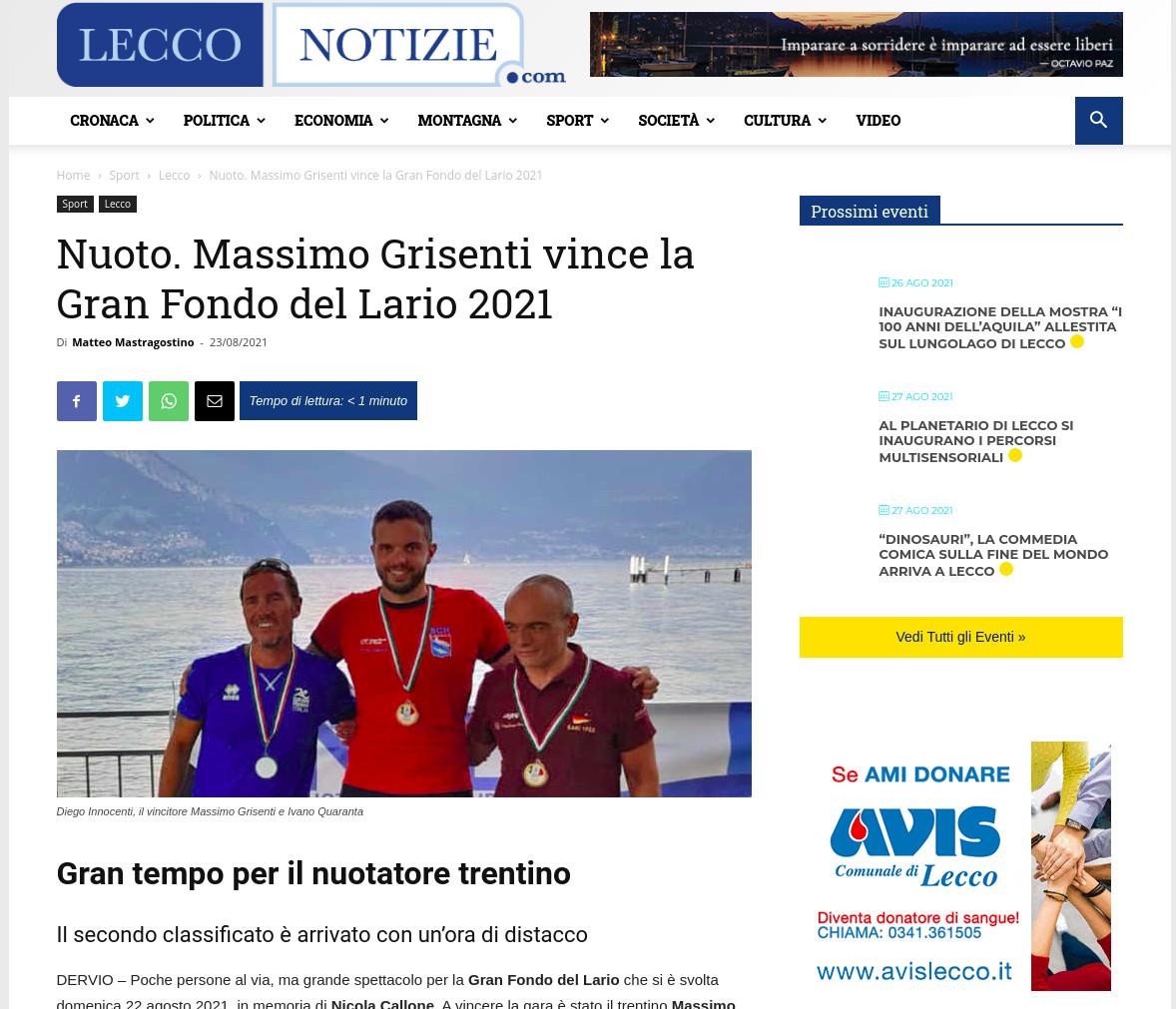 GF Lago di Como 2021 su LeggoNotizie.com